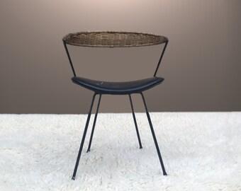 Mid Century Iron Rattan Wicker Chair Umanoff Style 1950s 50s 1960s 60s Home Decor