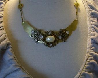Artisan Handmade Layered Brass Statement Necklace