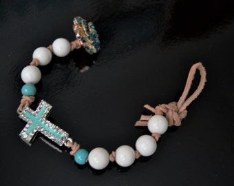 TURQUOISE RHINESTONE CROSS Bracelet White Jade Handtied Leather Bracelet with Button Closure