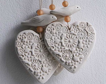 Porcelain heart and bird hangings
