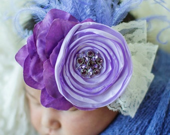 Purple Hues and Lace Ostrich Feather Crystal Center Headband Newborn Infant Toddler Child Adult
