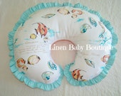 Nursing Pillow Cover, Boppy Cover. Coral, Peach and Aqua Fish Nautical. Ready to Ship.
