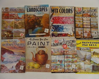 SALE was 47.77 Lot 8 vintage 70s Instructional Art Books How To Draw & Oil Paint Landscapes, Mix Colors, Painting Lessons by Walter T Foster