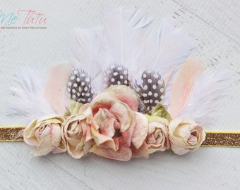 Vintage Boho Floral Crown, Tiara, Pink, Gold Feather Headband Headdress Baby Child Girls