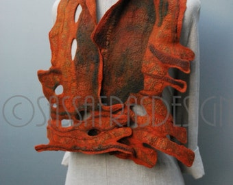 Scarf, shawl, collar, hand felted, hand dyed, rusty red, OOAK wearable art accessory, handmade fashion, women's bohemian style accessories