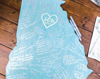"""Wooden state cutout wedding guestbook- about 24"""" wide/tall"""