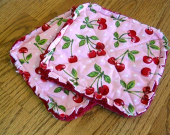 Pair of Rag Quilted Fabric Pot Holders  Cherries Print