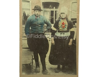Dutch Couple Tradional Dress | Hand Colored Cabinet Card | Vintage Photo