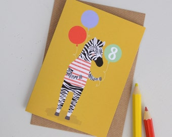 Zebra Birthday Card, Age 8 Childrens Animal Birthday Card, Kids Zebra Card, 8th Birthday Card, Zebra Greetings Card, Cards for Animal Lover