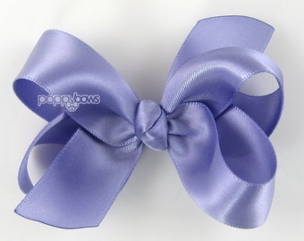 Satin Hair Bow - 3 inch hair bow, french lilac purple hair bow, silk hair bow, girls hair bows, toddler hair bow, baby hair bow, boutique 3""