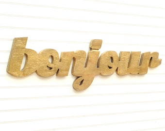 Bonjour Sign French Home Decor French Hello Wall Art