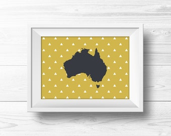 Australia Wall Art -- Gold and Gray, Gray and Yellow Art, Mustard Yellow Decor, Gold Home Decor, Triangle Pattern, Geometric, Printable Art