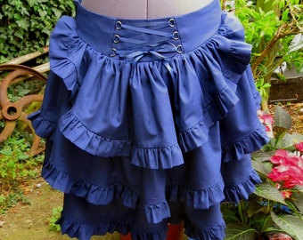 bustle skirt with self frill in any colour and size  with back corset lacing