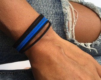 thin blue line bracelet. support police offeicers, police officers wife, leow. faux suede with magnet or lobster clasp.