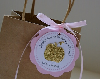 Gold and Pink Pumpkin Favor Tags,  Pink and Gold Pumpkin Decorations, Glitter Gold Pumpkin Tags, Gold Pumpkin Birthday Party,