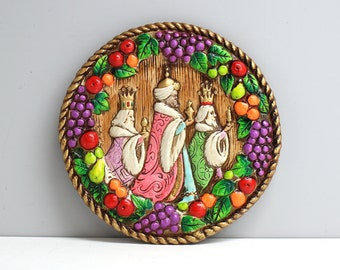 Vintage three kings wall plaque - mid century bright  colors - Della Robbia wreath border - stylized relief Christmas Epiphany plaque
