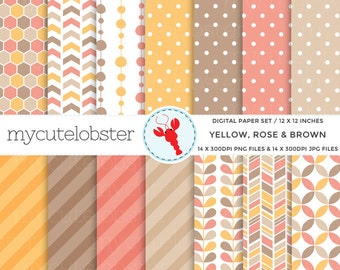 Yellow, Rose & Brown Digital Paper Set - honeycomb, leaves, polka, patterned paper - personal use, small commercial use, instant download