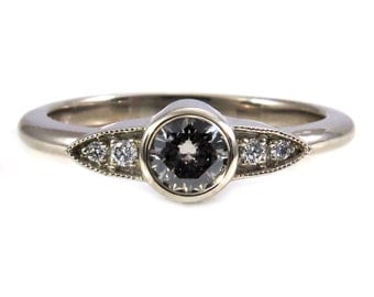 Modern Art Deco Grey Diamond Engagment Ring - 14k Palladium White Gold