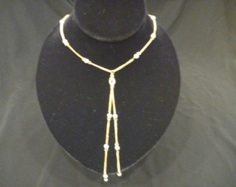 Vintage LARIAT GOLD PEARL Rhinestone Necklace