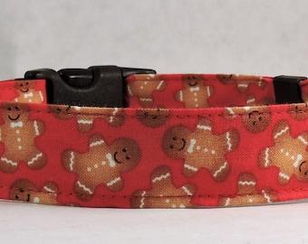 Christmas Dog Collar - Dog Collar, Martingale Collar, Cat Collar - All Sizes  - Gingerbread Men