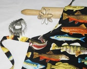 Fish Child Apron - black