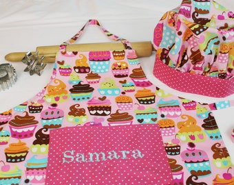 Personalized Sweet Cupcakes Youth Apron and Adjustable Chef Hat with pink polka dot accents - made to order