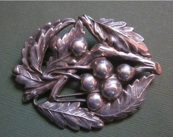 Summer Sale Antique Leaves And Berries Sterling Silver Brooch