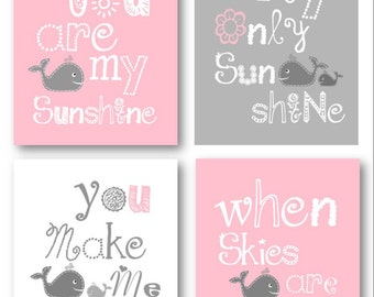 You Are My Sunshine Art // Whale Art // Nursery decor girls // Wall Art for Girls // Pink and Gray Nursery Decor // Four PRINTS ONLY