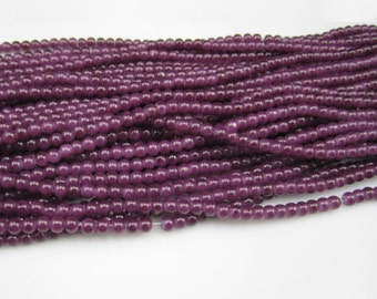 100 * 4mm Plum Purple Round Glass Beads, Purple Beads, Glass Beads, 4mm Beads, Bright Beads, Jewelry Supplies, Beading Supplies, Supplies