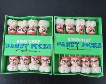 Two Boxes of Mid Century Whimsical Chef Party Picks By Capri  box w