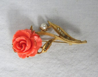Vintage 1960's BSK Rose and Pearl Costume Jewelry Pin or Brooch