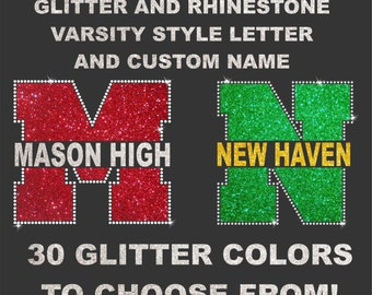 Glitter and Rhinestone Varsity letter and custom name tee
