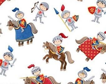 END OF BOLT ~ 1 yard 6 inches ~ Little Knight's Quest Fabrics Knight in Armor and on Horseback Castle