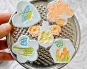 Flower Magnet Set, Gift Under 20, Sakura, cherry blossom, Fridge magnet, Turquoise chartreuse, Dorm Decor, heart magnet, Ceramic magnet set