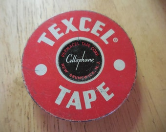 Vintage 1950s Round Metal Tin Red and White Office/Desk Decor Texcel Cellophane Tape Container Permacel Tape Corp. New Brunswick, N.J.