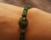 Bead Crochet Bracelet Roll on with authentic Green Turquoise