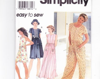Simplicity 7081 Romper 2 lengths Dress Jumper and Hat Sizes (XS) 6-8 (S) 10-12 (M) 14-16 Uncut Pattern FF