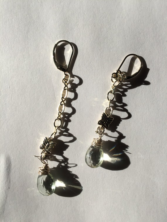 Sterling Silver Butterfly JEWELRY,Dangle earrings, Green amethyst, Casual, BRIDAL,