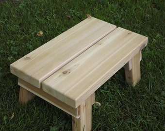 "Cedar/ riser/ step stool/ foot stool/ solid wood /outdoor 7 3/4""h"