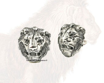 Lion Head Cuff Links Antique Sterling Silver Medieval Leo Vintage Inspired with Tie Pin and Tie Clip Set Options