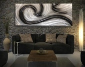 Silver black Metal modern decor Contemporary Original artwork hand made art 60 inch long wall sculpture painting by Lubo Naydenov - luboart