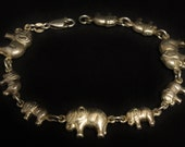 "Sterling Elephant & Baby Elephant Bracelet 7"" Long"