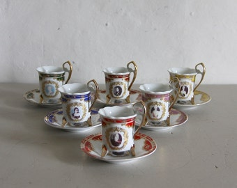 French Vintage Cups and Saucers Baroque Style with Portraits of Women, Set of 6