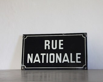 French Vintage Enamel  Street Sign National Street, Rue Nationale