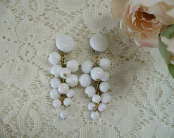 Mod Long White Bead Clip On Earrings From the 1960's