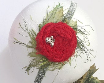 Christmas Headband for Baby Girl - Red Green on Glittered Silver Band Holidays Photo Prop - Baby Shower Gift, Christmas Stocking Stuffer