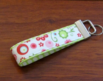 Sale Fabric Key Fob Keychain--Green Dot with Pink Floral