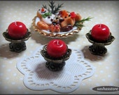 Red miniature dollhouse candle, bronze candleholder 12th scale dollhouse accessory, miniature home decor