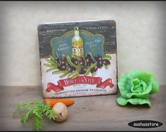 Dollhouse miniature olive oil sign, wooden sign, kitchen accessory, dollhouse picture