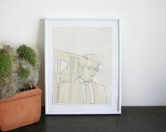 Original Stitched Art Illustration Portrait- Man and Window